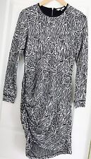 JAG WOMENS DRESS KNIT LINED PRINTED ZIP TRIM WORK PARTY Long Sleeve SZ S