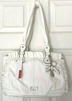 Women's ELLE JULIETTE SHOPPER 3-Section GATHERED Handbag w Charm, White $89 RARE