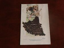 ORIGINAL  ART NOUVEAU GLAMOUR ADVERT POSTCARD, WOMAN IN LONG SKIRT,LA CAVALIERIE
