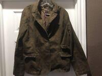WOMENS SIZE 16 BLAZER JACKET COAT GREEN FLOWER DESIGN CAREEER SUIT COAT