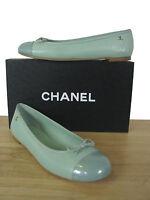 CHANEL Classic CC Light Green Leather Ballerina Ballet Flats Shoes sz 38 IT NIB