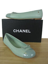 CHANEL Classic CC Light Green Leather Ballerina Ballet Flats Shoes sz 38 IT NIB