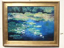 """""""Waterlilies pond"""" oil on canvas, Irek T. Szelag listed artist"""