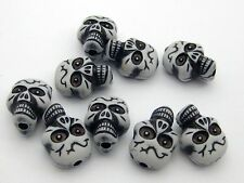 25 White Acrylic Halloween Gothic Skull Beads 20mm (Double side)
