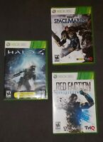 Xbox 360 Game bundle including Halo 4, Space Marine, and Red Faction Armageddon