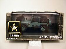 GREENLIGHT 1:43 SCALE DIECAST US ARMY LT GREEN SOFT TOP 2012 JEEP WRANGLER