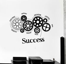 Vinyl Wall Decal Success Words Gears Office Motivation Stickers (ig4481)