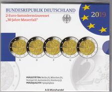 Deutschland 2019 2 Euro Sammlermünzenset - 30 Jahre Mauerfall - A - J  PP