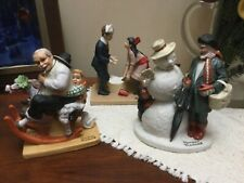 Norman Rockwell Porcelain Figurines Set of 3 by Danbury Mint 1980