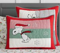 BRAND NEW~ Pottery Barn Peanuts SNOOPY Holiday Quilted Standard Pillow Sham~Mult