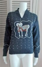 VINTAGE FADED GLORY EMBROIDERED SWEATER GRAY BLUE WITH RAM SIZE MEDIUM