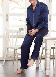 Jasmine Silk Men's Pure Silk Pyjamas Navy