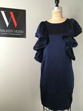 Lanvin for H&M Size 4 Navy Silk Satin Ruffle Sleeve Dress - NWOT