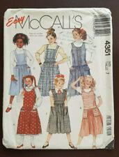 Mc-4351 Jumpsuit & Jumper Sewing Pattern McCall's Girl Size 7 Uncut