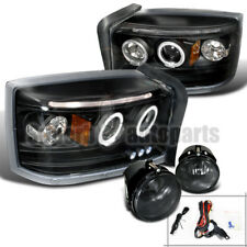 2005-2007 Dodge Dakota Halo LED Projector Headlights Black+Fog Lights Smoke