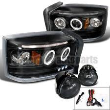 2005 2007 Dodge Dakota Halo Led Projector Headlights Black Fog Lights Smoke