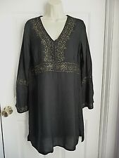 SOAKED M NWT $48 Cover Up Summer Dress Black Gold Embroidery Long Sleeves SEXY