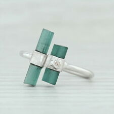 New Green Tourmaline Ring Sterling Silver Adjustable Handmade Diamond Accent