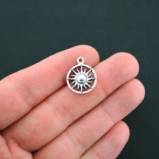 10 Sun Charms Antique Silver Tone Circle Charm- SC4547