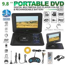 9.8'' Portable TV DVD CD Player 270° Rotation LCD USB SD FM Radio Remote Control