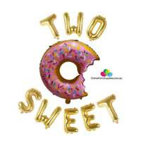"""16"""" Gold Two Sweet with 29"""" Sprinkle Donut Shaped Foil Balloon Banner Doughnut"""