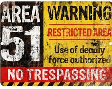 Area 51 DO NOT ENTER Warning Metal Tin Sign  Vintage New Alien Man Cave Retro