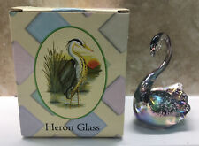 More details for green to purple iridescent favrile glass swan sculpture by heron glass
