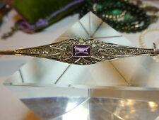 Art Deco Long Shawl Bar Pin Brooch Sterling Silver Amethyst & Paste Diamante