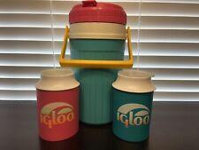 New listing Vintage 90s Igloo 1/2 Gallon Jug Pink Teal Neon Yellow + 2 Beverage Beer Koozies