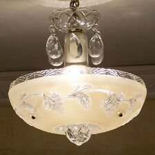 145b Vintage CEILING LIGHT lamp chandelier fixture glass shade cream 1 of 2