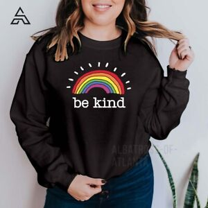 Be kind NHS Rainbow Sweatshirt Thank you Stay Safe Home Gift Sweatshirt (162)A