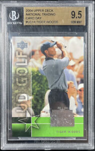 2004 Upper Deck National Trading Card Day Tiger Woods Golf Card #UD14 BGS 9.5!!!