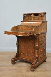 Antique walnut pop up piano top Davenport writing desk