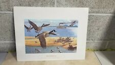 Canada goose hunting print on the Mississippi river 1930s theme
