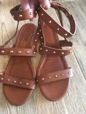 J. CREW GLADIATOR STUDDED LEATHER SANDALS SADDLE BROWN 7.5 Rtl. $198 ITALY