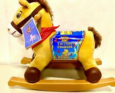 Kids Plush Ride On Toy Horse Rockin' Rider Charger 2-in-1 ROLLING Pony TALKING