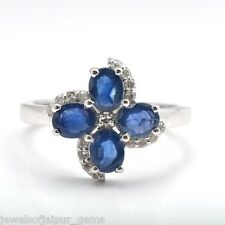 Oval Cut Blue Sapphire Stone Diamond 925 Sterling Silver Floral Ring Jewelry UK