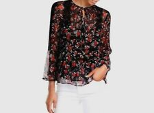 88600962 New The Kooples Black Floral Lace Pleated Silk Blouse Size XXS
