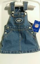 Reebok  NY Jets Logo Girl's  Denim Overall Dress NFL Brand (2T)