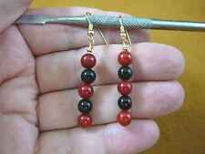 (EE-487-5) Red Bamboo coral + Onyx gemstone beaded dangle gem gold earrings