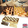Folding Wooden Chess Set Board Game Checkers Toy UK