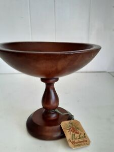 MaLeck Woodcrafts Vtg Walnut Small Fruit Bowl Pedestal Serving Dish Wingate NC
