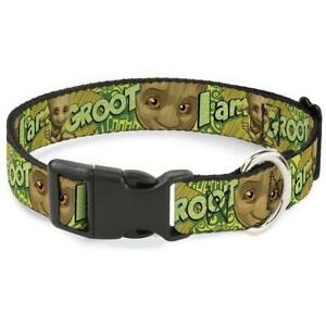 """Buckle Down PLASTIC CLIP DOG COLLAR - BABY GROOT POSE/FACE 1"""" wide Sz S 9""""-15"""""""