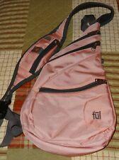 Ful Sling Messenger Bag Crossbody Backpack Travel Hiking Gym School Pink & Gray