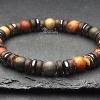 New Mode Bracelet Homme/Femme perles pierre gemme  Bois naturelle Cocotier/Coco