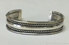 "Estate Jewelry Native American Tahe Bangle Bracelet Sterling Silver 7"" Long"
