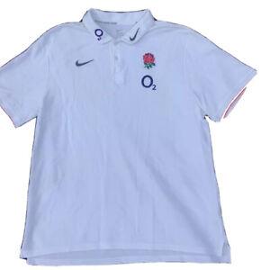 Rare ENGLAND Nike O2 Rugby Union RFU Polo Supporters Shirt Jersey Top XXL Large