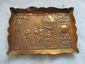 Antique Brass Calling Card Tray Musicians Playing In Street