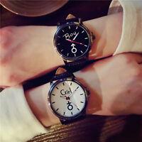 Women Men Unsex Casual Quartz Analog Wrist Watch Luxury Leather Band Watch Black