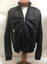 New DSQUARED2 Lamb Leather Bomber Jacket, Black 38.